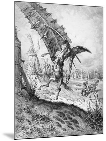 Don Quixote and the Windmills, from 'Don Quixote de la Mancha' by Miguel Cervantes-Gustave Dor?-Mounted Giclee Print