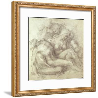 Figures Study for the Lamentation Over the Dead Christ, 1530-Michelangelo Buonarroti-Framed Giclee Print
