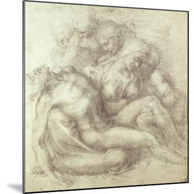Figures Study for the Lamentation Over the Dead Christ, 1530-Michelangelo Buonarroti-Mounted Giclee Print