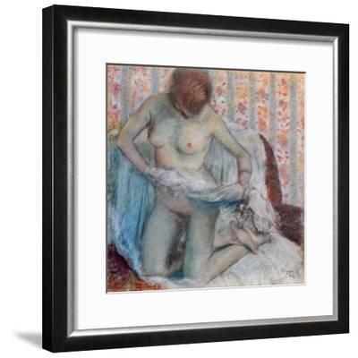 After the Bath, 1884-Edgar Degas-Framed Giclee Print