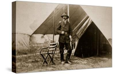 General George G. Meade in Camp, 1861-65-Mathew Brady-Stretched Canvas Print