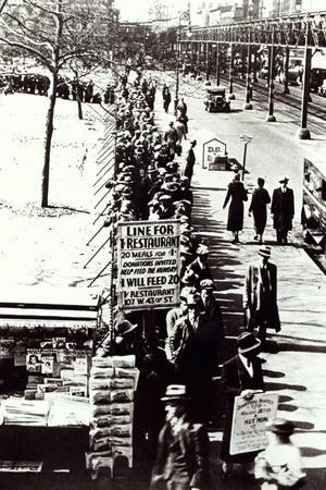 Cheap Food Line at Bryant Park, New York, During the Great Depression, 1931--Stretched Canvas Print