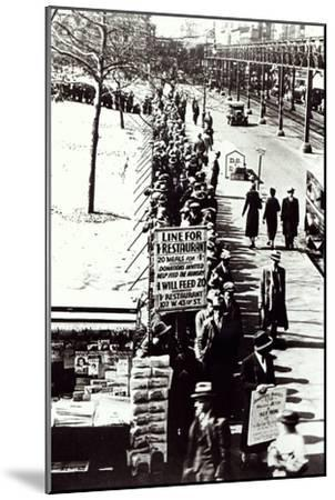 Cheap Food Line at Bryant Park, New York, During the Great Depression, 1931--Mounted Giclee Print
