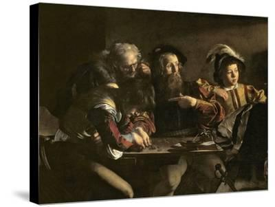 The Calling of St. Matthew, C.1598-1601-Caravaggio-Stretched Canvas Print
