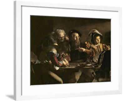 The Calling of St. Matthew, C.1598-1601-Caravaggio-Framed Giclee Print