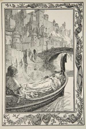 The Barge floated down the River, illustration from 'Stories of King Arthur and the Round Table'-Dora Curtis-Stretched Canvas Print