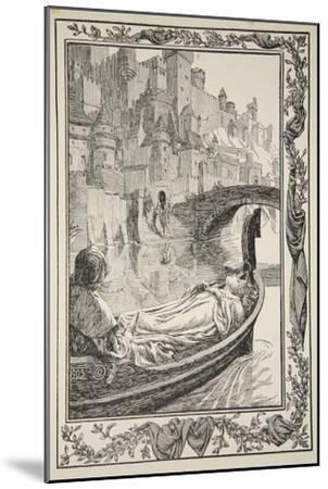 The Barge floated down the River, illustration from 'Stories of King Arthur and the Round Table'-Dora Curtis-Mounted Giclee Print