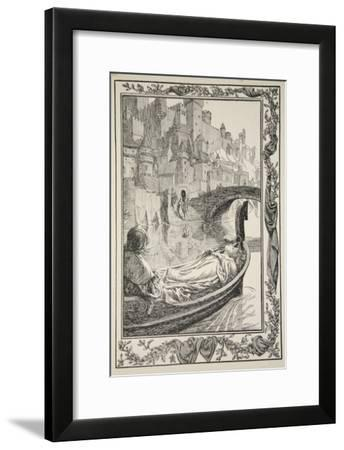 The Barge floated down the River, illustration from 'Stories of King Arthur and the Round Table'-Dora Curtis-Framed Giclee Print