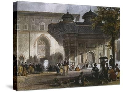 Imperial Gate of Topkapi Palace and Fountain of Sultan Ahmed III, Istanbul, 1839-Thomas Allom-Stretched Canvas Print
