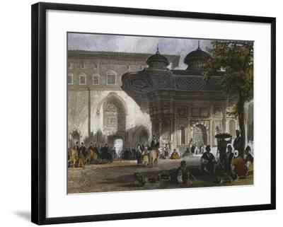 Imperial Gate of Topkapi Palace and Fountain of Sultan Ahmed III, Istanbul, 1839-Thomas Allom-Framed Giclee Print