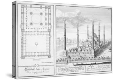 Plan and View of the Blue Mosque-Johann Bernhard Fischer Von Erlach-Stretched Canvas Print