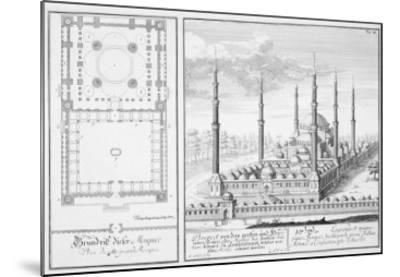 Plan and View of the Blue Mosque-Johann Bernhard Fischer Von Erlach-Mounted Giclee Print