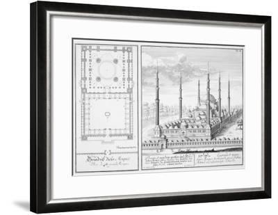 Plan and View of the Blue Mosque-Johann Bernhard Fischer Von Erlach-Framed Giclee Print