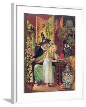 The Old Witch Combing Gerda's Hair in 'The Snow Queen', from Hans Christian Andersen's Fairy Tales-Lorens Frolich-Framed Giclee Print
