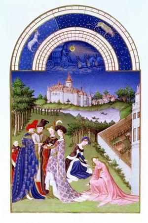 Fascimile of April: Courtly Figures in the Castle Grounds by the Limbourg brothers, from the 'Tres --Stretched Canvas Print