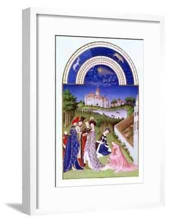 Fascimile of April: Courtly Figures in the Castle Grounds by the Limbourg brothers, from the 'Tres --Framed Giclee Print