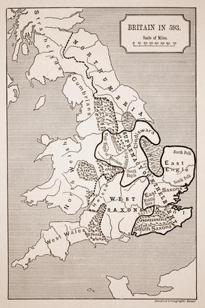 Map of Britain in 593, Printed by Stanford's Geographical Establishment--Stretched Canvas Print