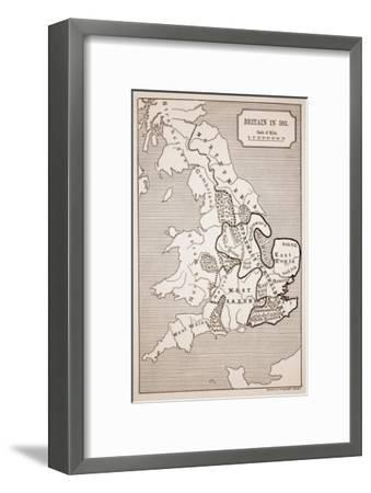 Map of Britain in 593, Printed by Stanford's Geographical Establishment--Framed Giclee Print