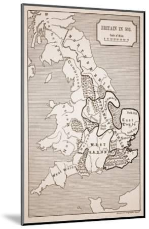 Map of Britain in 593, Printed by Stanford's Geographical Establishment--Mounted Giclee Print