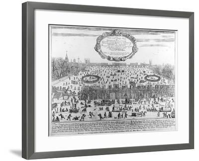 Frost Fair of Winter of 1683-4 on Thames, with Old London Bridge in Distance. C.1684--Framed Giclee Print