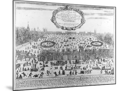 Frost Fair of Winter of 1683-4 on Thames, with Old London Bridge in Distance. C.1684--Mounted Giclee Print