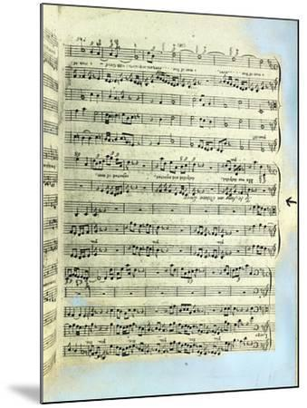 A Page from One of the Only Two Copies known to Exist of the First Printing of Handel's Messiah in --Mounted Giclee Print
