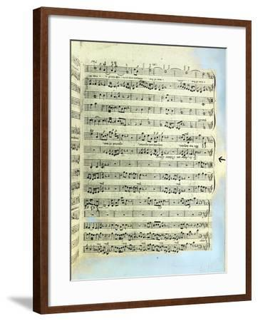 A Page from One of the Only Two Copies known to Exist of the First Printing of Handel's Messiah in --Framed Giclee Print