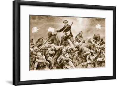 For the Glory of Raj: Indian Troops Charging the German Trenches at Neuve Chapelle--Framed Giclee Print