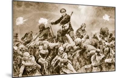 For the Glory of Raj: Indian Troops Charging the German Trenches at Neuve Chapelle--Mounted Giclee Print