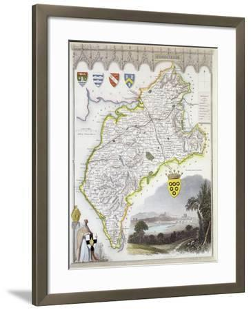 Map of Cumberland, from 'Moule's English Counties', c.1836-Thomas Moule-Framed Giclee Print