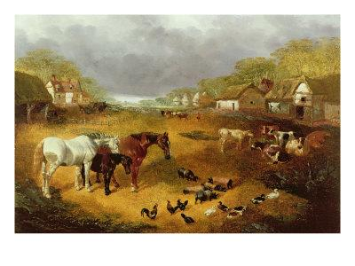 A Farmyard in Spring-John Frederick Herring II-Stretched Canvas Print