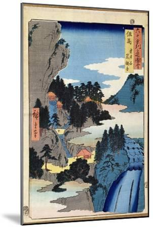 Mountain Landscape, from the Series 'Views of the 60-Odd Provinces', pub. by Kosheihei, 1853-Ando Hiroshige-Mounted Giclee Print