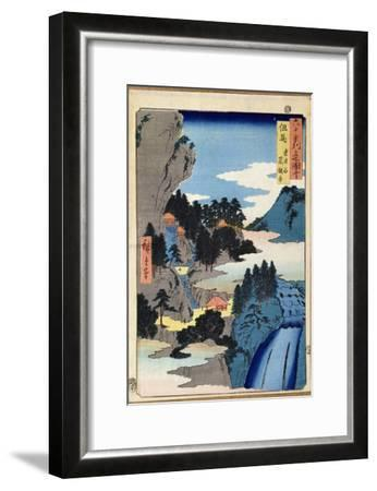 Mountain Landscape, from the Series 'Views of the 60-Odd Provinces', pub. by Kosheihei, 1853-Ando Hiroshige-Framed Giclee Print