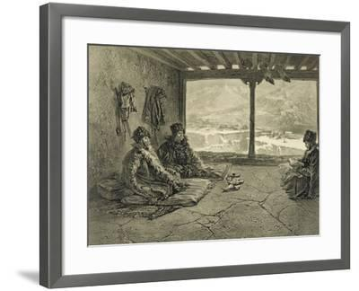 Sharia Lecture at Khosrakh, Dagestan, engraved by Adolphe Mouilleron-Grigori Grigorevich Gagarin-Framed Giclee Print