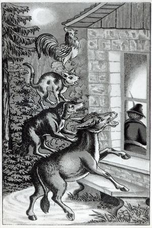 Four Animals Shouting at Window, for 'The Musicians of Bremen Town', Tale by the Brothers Grimm--Stretched Canvas Print