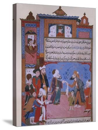 Rumi Offering his Belt to a Beggar, late 16th century--Stretched Canvas Print