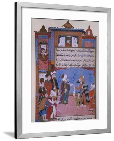 Rumi Offering his Belt to a Beggar, late 16th century--Framed Giclee Print