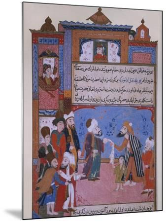 Rumi Offering his Belt to a Beggar, late 16th century--Mounted Giclee Print
