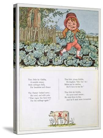 A Goblin Stealing Cabbages, Illustration for a poem from 'Under the Window'-Kate Greenaway-Stretched Canvas Print