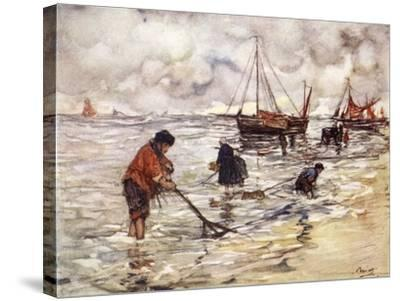 Shrimp-Fishing, 1904-Nico Jungman-Stretched Canvas Print