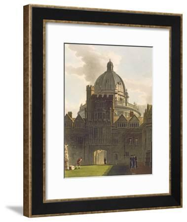 Exterior of Brasenose College and Radcliffe Library, Illustration from the 'History of Oxford'-Augustus Charles Pugin-Framed Giclee Print