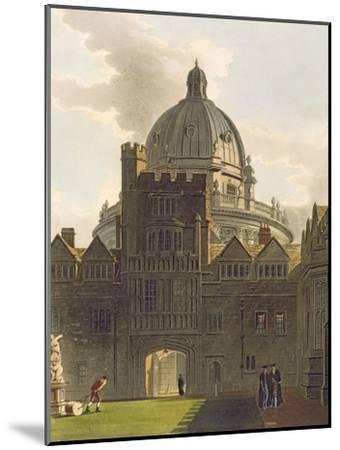 Exterior of Brasenose College and Radcliffe Library, Illustration from the 'History of Oxford'-Augustus Charles Pugin-Mounted Giclee Print