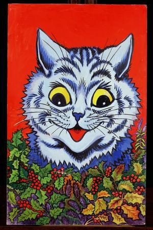 Cat in Holly-Louis Wain-Stretched Canvas Print