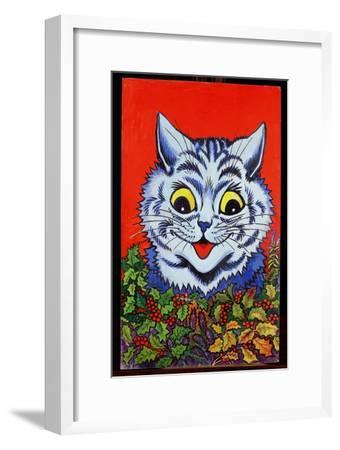 Cat in Holly-Louis Wain-Framed Giclee Print