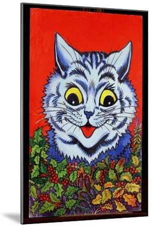 Cat in Holly-Louis Wain-Mounted Giclee Print