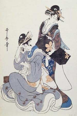 Two Female Figures-Kitagawa Utamaro-Stretched Canvas Print
