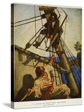 """""""One more step, Mr. Hands � and I'll blow your brains out"""", Illustration from 'Treasure Island-Newell Convers Wyeth-Stretched Canvas Print"""