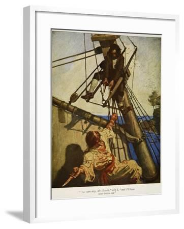 """""""One more step, Mr. Hands � and I'll blow your brains out"""", Illustration from 'Treasure Island-Newell Convers Wyeth-Framed Giclee Print"""