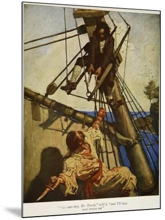 """""""One more step, Mr. Hands � and I'll blow your brains out"""", Illustration from 'Treasure Island-Newell Convers Wyeth-Mounted Giclee Print"""