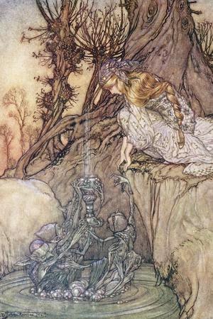The Enchanted Goblet, c.1908-Arthur Rackham-Stretched Canvas Print